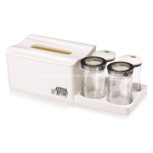 Plastic Tissue Box with 4 Divider Jar