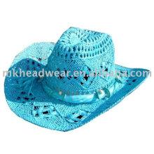 Chapeau de cowboy en paille en papier coloré