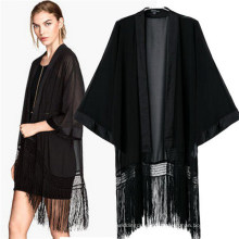 Fashion Classic Black Kimono Casual Bat-Like Tassel Blouses (50017)