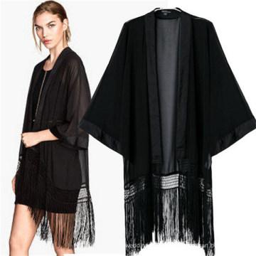 Fashion Classic Black Kimono Casual Bat-Like Tassel Blouses (50017)