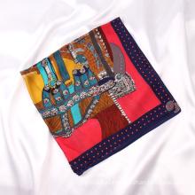 Hot Selling Luxury Pattern Silk Hair Scarves Ladies Silk Spring Daily Decoration Scarf