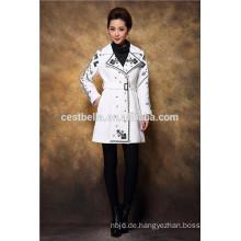 Hochwertiger gestickter Overcoat Blumen-Trenchcoat für Mittlerer Osten hübsche Dame