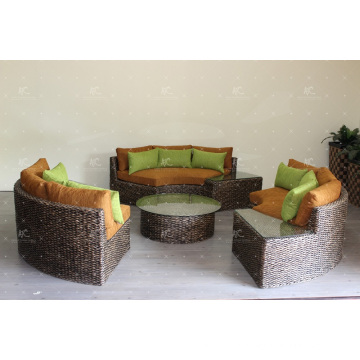 Stunning Design Water Hyacinth Large Round Sofa Set For Indoor or Living Room Natural Wicker Furniture