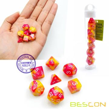 Bescon Mini Gemini Two Tone Polyhedral RPG Dice Set 10MM, Small Mini RPG Role Playing Game Dice D4-D20 in Tube, Color of Sunglow