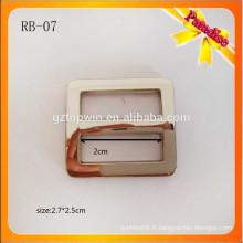RB07 Fashion rectangle métal slider boucle argent alliage de zinc boucle de boule réglable pour sac bandoulière
