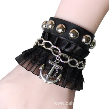 Fashion Jewelry Leather Lace Bracelet With Alloy Pendant