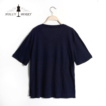 Casual Regular Kurzarm Navy Casual T-Shirts Frauen