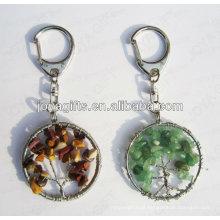 Round forma chaveiro de pedra preciosa, pendente pingentes de pedra preciosa, pedra chave-afortunada chaveiro