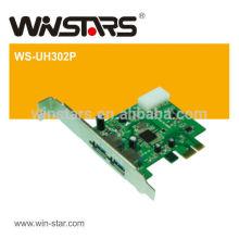 Carte PCI-E Express usb 3.0, carte Super-vitesse USB 2.0 PCI-E à 2 ports, CD pilote avec manuel