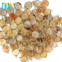 Silver Plated Edged Natural Round Agate Geodes Double Bail Connector