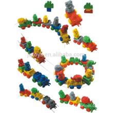 2016 plastic animal blocks toys zoo animal set toy