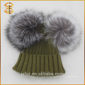 Fabrik Preis Real Fox Pelz Häkeln Pom Pomk Winter Hut