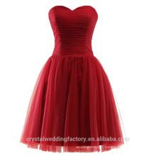 Wholesale Short Cheap Bridesmaid Dresses 2016 Soft Tulle Evening Dress with Pleats Women Prom Dresses LBB06