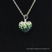 Wholesale Heart Shape New Arrival Gradient Color Green and White Crystal Clay Shamballa With Silver Chains Necklace