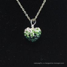 Оптовые формы сердца новый градиент цвета прибытия зеленый и белый кристалл глины Shamballa с серебряными цепочками ожерелье