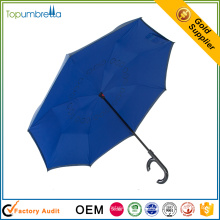 windproof outdoor Plastic Handle logo printed promotion reversable umbrella