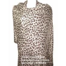 Xaile de Caxemira Natural Leopard