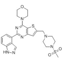Thieno[3,2-d]pyrimidine, 2-(1H-indazol-4-yl)-6-[[4-(methylsulfonyl)-1-piperazinyl]methyl]-4-(4-morpholinyl)- CAS 957054-30-7