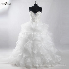 RSW910 Latest Ruffled Organza Bottom Bridal Wedding Dresses Gowns Pictures