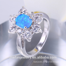 Synthetic fire opal ring silver jewelry from India latest products 2018 OEM wholesale price