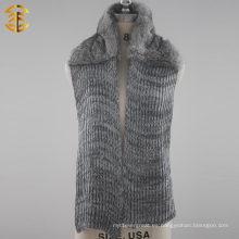 Invierno de piel de conejo real de moda Knitting bufanda con piel para las mujeres