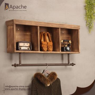 Wooden Cabinet Metal Wall-Mounted Clothing Rack