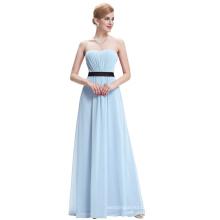 Starzz Long Strapless Off Shoulder Light Blue Chiffon Bridesmaid Dress ST000066-6