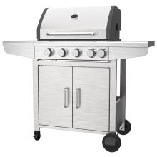 Grade de aço inoxidável para churrasco com quatro queimadores