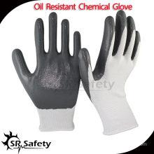 SRSAFETY 13G knitted nylon liner coated grey nitrile glove china