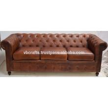 Canapé en cuir véritable