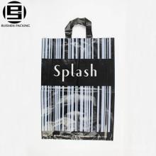 Listras preto barato personalizado saco alça de loop para fazer compras