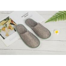 Linen fabric EVA sole popular disposable hotel slipper