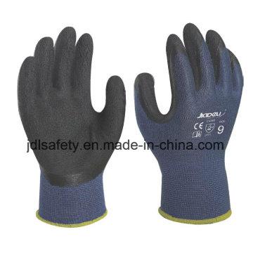 Luvas de trabalho de fibra de bambu azul com espuma de látex revestimento (L3014)