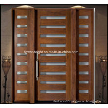 Main Entrance Solid Wood Door with 2 Glass Side Lites