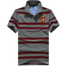 Custom 2017 Men Stripe Shirts Cotton Pique Polo Shirts