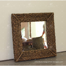 Classic Natural Water Hyacinth Mirror Frame Wicker Furniture