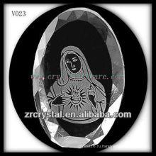 К9 овальный Кристалл с пескоструйной обработкой изображения
