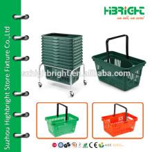 various metal shopping basket stack