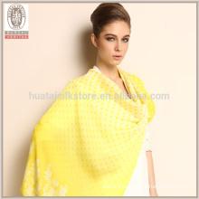 Pura impreso largo suave de alta calidad bufanda de seda de gasa