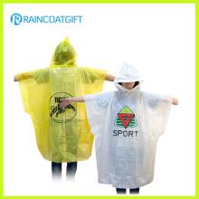 Kundenspezifisches Marken-Logo gedruckter PE-wegwerfbarer Regenmantel für Förderung