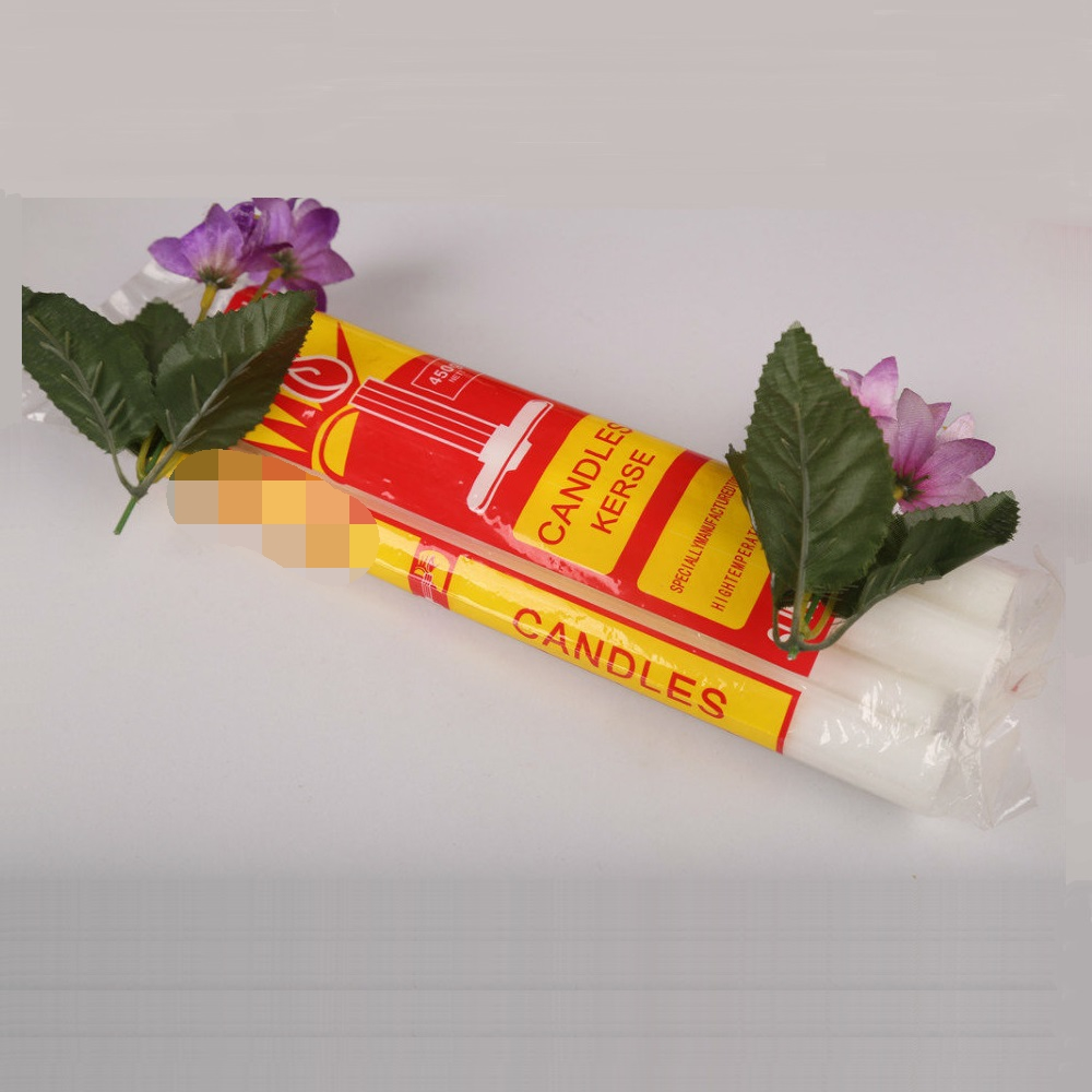 400g white pillar fluted candles wax candel