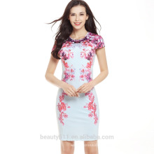 Vente en gros élasthanne en polyester élastique courbée mini-dames déguisé en soie robes d'été SD02