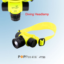 Waterproof Ipx8 150lm 3W CREE XP-E R2 Diving LED Headlamp (POPPAS- FT50)