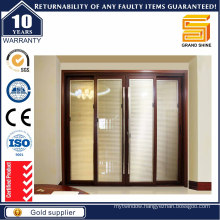 Cheap Price Tempered Glass Grill Design Aluminum Sliding Door