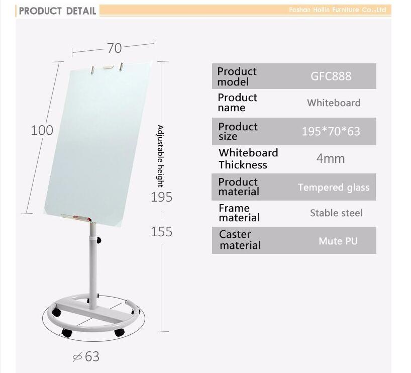 Mobile-Magnetic-Glass-Whiteboard Size
