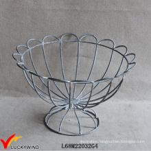 French Vintage Wirework Urn Decorative Metal Wire Basket