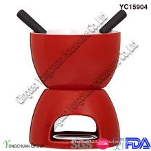 Red Ceramic Chocolate Fondue Set for Sale
