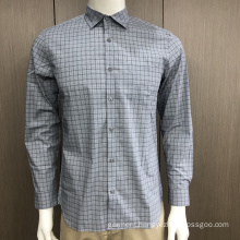 Male spandex long sleeve check shirt