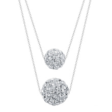 10mm white rhinestone shamballa ball double layer necklace