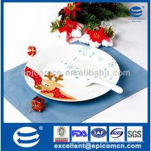 "Christmas reindeer design of 2pcs 10.5"" round ceramic pie plate set with spatula"